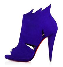 Christian louboutin Belfeconica 120 Purple Pop Open Toe Cutout Booties Shoes 38
