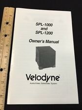 Velodyne SPL-1000 1200 Subwoofer Original Owners Manual spl1000 spl1200