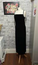 Laura Ashley Vintage Black Velvet dress Long Size Small Petite