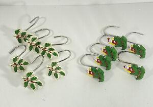 Spode Christmas Tree Santa Shower Curtain Hooks Qty 12 Red Green