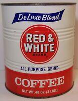 Large Old Vintage 1970s RED & WHITE GRAPHIC COFFEE TIN 3 POUND Chicago Illinois