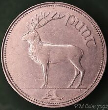 1996 Irish punt £1 one pound EIRE nice coin with stag *[7092]