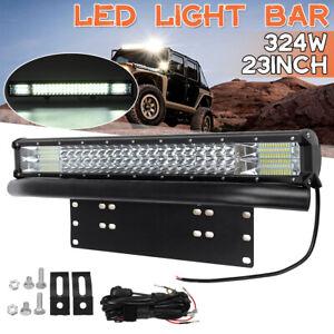 "23inch Triple Row LED Light Bar Spot Beam + 23"" Number Plate Frame + Wiring Kits"