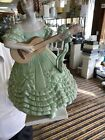 Herend Porcelain Figurine Lady Native Playing Guitar Green Ruffled Floral Dress