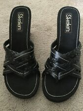 Skechers Wedge Sandals / Streamers / Style #46777 / Size 8 / Black / New W/ Box