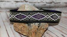 "Greyhound 1.5"" wide House Collars -  Purple Italian & Free Leather Tassel"