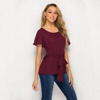 Lady Chiffon T-shirt Summer Short Sleeve Tee Waist Lace Up Casual Blouse Tops HO