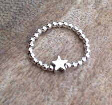 Silver Star Ball Beaded Stretch Toe / Finger Ring