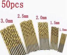 50pcs HSS Titanium Twist Drill Bits Set 1.0 1.5 2.0 2.5 3.0mm For Wood Aluminum