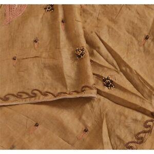 "Sanskriti Vintage Georgette Hand Beaded Design Fabric Decor Indian Craft 46""X42"""