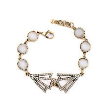 Bracelet Doré Art Deco Triangle Cristal Rond Beige Opale Fin Original CT3