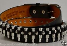 XLARGE QUALITY GENUINE LEATHER MEN WOMEN BELT SILVER BULLET PUNK ROCK BILLY IDOL