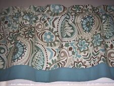 WAVERLY PAISLEY PRISM LATTE W/ SOLID BLUE TRIM STRAIGHT BOTTOM Valance Curtains!