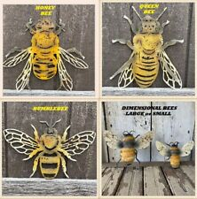 BUMBLEBEE, HONEY BEE, QUEEN BEE, Dimensional Bee Wall Decor Rustic BEE wall