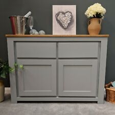 Painted Grey Large Oak Sideboard / Solid Hardwood Storage Cupboard / York