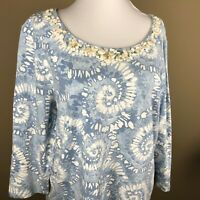 Ruby Rd. Women's 3/4 Sleeve Top Size XL Dusty Blue White, Embellished Neckline