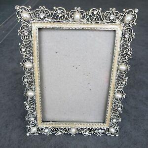 Enamel Rhinestone & Pearl Filigree Scroll Silver Tone Picture Frame  3 × 5