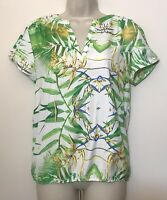 NWT Philosophy Small Blouse White & Green Leaves Floral Short Sleeve V-Neck $44