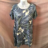 Tommy Bahama Women's Tropical Floral Dress Size M Blue and Beige