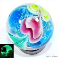 22mm Ocean Heart Glow In The Dark Glass Art Toy Marble - Handmade Collectors