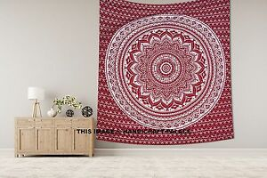 Indien Silver Ombre King Wall Hanging Maroon Coverlet Mandala Hippie Tapestry