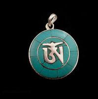 A Sospensione Tibetano Om Con Turchese Buddista 1597 K93