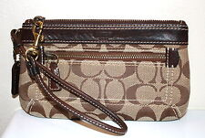 NWOT COACH Madison Khaki Signature Brown Leather Small CLUTCH WRISTLET Gift