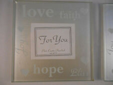 (21) GLASS  PHOTO COASTERS LOVE, FAITH, FOREVER, BLISS, HOPE, JOY