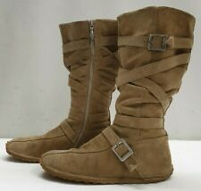 KICKERS ladies womens brown real suede flat knee boots Size 6 EU 39
