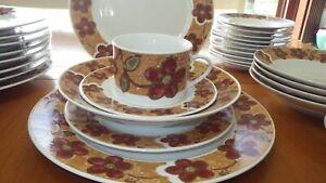 Stoneware Dinnerware Set Celia by Gibson Designs Dinner Plates Bowls Salad Plate