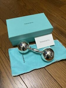 Tiffany & Co Baby Rattle BARBELL Sterling Silver 925 Dumbbell With Box