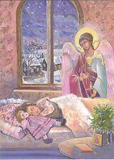 Eagle winged Angel Christmas Girl sleeps doll Nevezhina Russian modern postcard