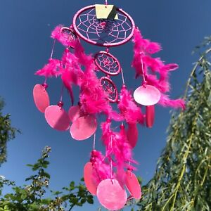 New Hot Pink with Shell Discs Feather Dream Catcher Native American Mobile