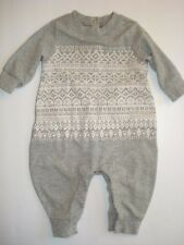 GAP Baby Boy Gray White Snowflake Play Romper Sweater Look-A-Like 0-3 Months PRE
