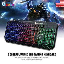 Ergonomic Cool Crack Rainbow LED Backlit IIluminated USB Wired Gaming Keyboard