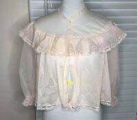 VANITY FAIR VINTAGE 50s BED JACKET 100% Tricot Nylon - LARGE - Pink Lace