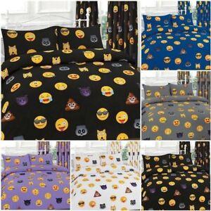Beautiful ikons emoji design duvet set Reversible and curtains All UK Stock