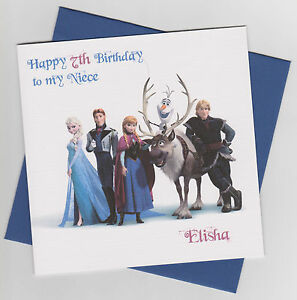 Personalised Handmade Frozen Birthday Card - Son, Daughter, Brother, Sister, etc