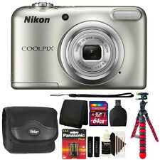 Nikon COOLPIX A10 16.1MP Digital Camera (Silver) + Extra Batteries + Accessories