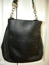 BRIGHTON Black Pebbled Leather Slouch Shoulder Hobo Bag Tote Purse
