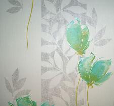 Vlies Tapete P+S 13272-20 Florales Design Blumen Struktur Weiß Türkis Silber