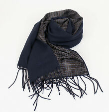 New In Box. BRIONI Men's Navy Blue Twill 100% Cashmere Double Face Scarf $1295