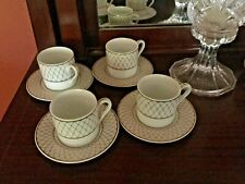 Set of 4 Tiffany Gold & White lattice design demitasse coffee cups and saucers