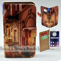 For OPPO Series - Alp Street Cafe Theme Print Wallet Mobile Phone Case Cover