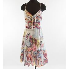 Mexx Tiered Floral Cotton Tea Paisley Tie Bodice Sundress Day Dress 10