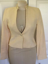 BLOOMINGDALE'S YELLOW SIZE 4 JACKET NWT PEARL TRIM