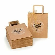 Kraft Paper Bags Bulk with Handles and Printed Thank-You Design for Gift (NO BOW