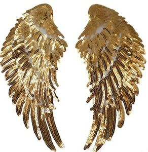 Angel Wings Patch Golden Sequins Love Gold Iron On Size: 27 cm x 13 cm