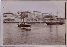 FRANCE Belle-Île-en-Mer Bateau Vapeur Citadelle Palais Vintage Citrate ca 1900