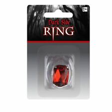 Adults Gothic Red Jewel Gem Ruby Vampire Dracula Silver Ring Jewellery Halloween